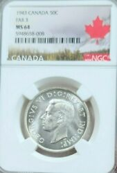 1943 Canada Silver 50 Cents Far 3 Ngc Ms 64 Beautiful Frosty Pq Luster
