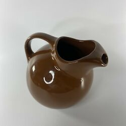 Hall Pottery Water Pitcher Tilted Ball Jug Brown 633 W Ice Lip Us Made Farmhouse