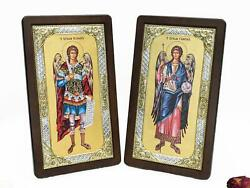 Archangel Michael And Gabriel Christian Silver And Gold Icon Set Orthodox Home Decor