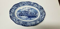 Liberty Blue Washington Crossing The Delaware Oval Serving Platter Tray 14x11