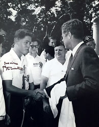 Bill Clinton Signed 11x14 Photo With John F. Kennedy Iconic Rare Image Psa/dna