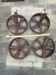 4 Antique Bolt On Iron Wheels For A Norfolk Chicken Shed /shepards Hut With Axel