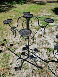 Vtg Antique 40 Tall Wrought Iron Floor Candle Holder Stand Candelabra Gothic