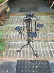 Vtg Antique 33 Tall Wrought Iron Floor Candle Holder Stand Candelabra Gothic