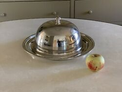 Large Antique Vintage 14 Silver Tray With Food Dome Waldorf Astoria Hotel Ny