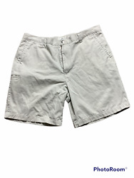 Dockers Mens Beige Flat Front Relaxed Fit Casual Shorts Size 40 Inseam 9