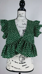 Shein Women.s Blouse Size L Green Floral Print Short Sleeve Relaxed Fit Casual