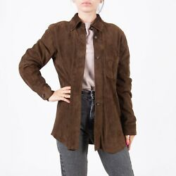 Marella Womenand039s Suede Leather Shirt Brown Us 6 Uk 10 Buttoned Jacket Max Mara