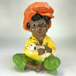 1974 Universal Statuary Chalkware Black African American Boy With Small Dog 10quot;