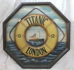 Vintage Titanic Hand Painted 3d Octagon Wood Sign Life Preserver Real Rope