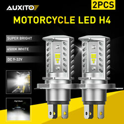 2pcs H4 9003 Hb2 Led Bulbs 6500k White High Low Beam Motorcycle Headlight Auxito
