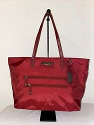Calvin Klein Red Nylon And Faux Leather Shopping Shoulder Tote