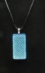 Blue Dichroic Glass Pendant Necklace Handmade Jewelry Necklaces
