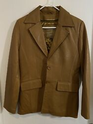 Knoles And Carter Italian Lambskin Honey Brown Leather Jacket Size Small 6127