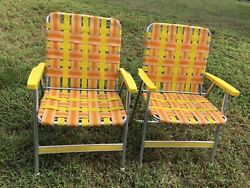Vintage Aluminum Webed Folding Lawn/camp Outdoor Chairs.yellow And Orange Set Of 2