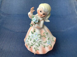 Vintage Napco Figurine 50s Girl Southern Belle Peach Flowers Spring 4 X 6