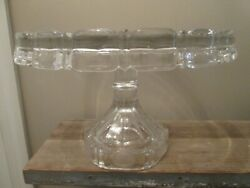 Vintage Fostoria Coin Clear Glass Pedestal Cake Stand Plate 10