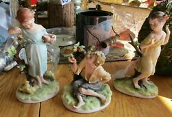 SET OF 3 ANTIQUE BISQUE LEFTON FIGURINES 2 GIRLS AND BOY WITH BRANCHES ANIMALS