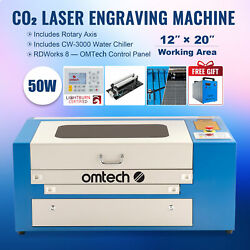 50w 20x12 Co2 Laser Engraver Cutter W/ Cw-3000 Water Chiller And Rotary Axis