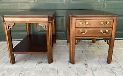 Vintage Pair Lane Wooden Chippendale Fretwork Inlay End Side Tables Free Ship