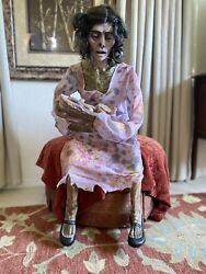 Rocking Moldy Mommy Animated Zombie With Baby Zombie Halloween Prop