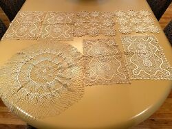 Lot Of Antique Vintage Crocheted Doilies Square Squarish, Rectangle, Round