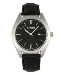 Breed Louis Leather Band Watch w Date Silver Black $110.00
