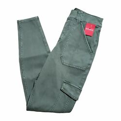 Nwt Spanx Stretch Twill Ankle Cargo Skinny Pants Womenand039s M Soft Sage Green High