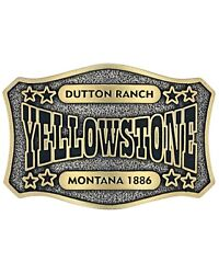 Montana Silversmiths Menand039s Two-tone Yellowstone Dutton Ranch Belt Buckle Gold