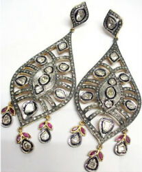 Wedding Party Wear 4.22ct Natural Antique Rose Cut Diamond Ruby Polki Earrings