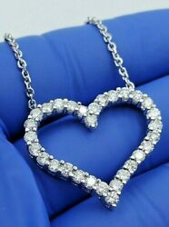 1.50 Ct Natural Diamonds Heart Pendant Necklace 14k Solid White Gold