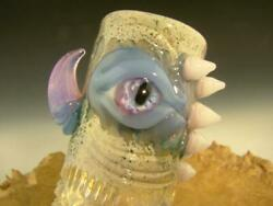 Stash Jar Glass Eye With Fangs Hand Blown Flameworked Container Art By Eli Mazet