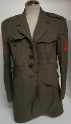 Vtg Us Marine Green Military Wool Coat Jacket Size 39s Red Patches Black Buttons