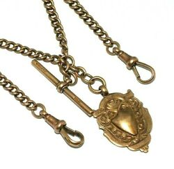 Unisex/ladies/gents 9ct Rose Gold Albert Chain With A T-bar And Fob Attached