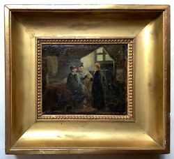 19th Century French Antique Oil Painting Original Vernet Romantism Mystery