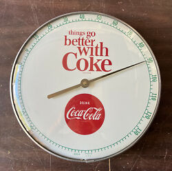 Vintage 60andrsquos Coca-cola Glass Thermometer Things Go Better With Coke