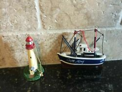 Set/2 Cape May New Jersey Beach Boat Lighthouse Christmas Ornaments Lefton