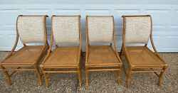 Vintage Mcguire Bamboo Cane Dining Chairs Beige Gold Thread Chinoiserie Dragon