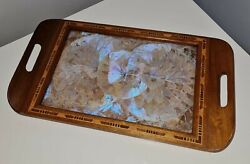 Antique Butterfly Wing Collectible Inlaid Wooden Serving Tray Vanity