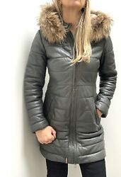 Andpound479 Oakwood Lux Leather Mary Long Puffer Coat Jacket Andmdashdetachable Fur Small
