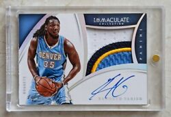 Panini Immaculate 2014-15 Premium Patches Kenneth Faried Auto Patch Platinum 1/1
