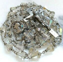Vintage Xtra Long Sterling Rosary Openwork Center Teardrop Glass Bead Ornate 40g