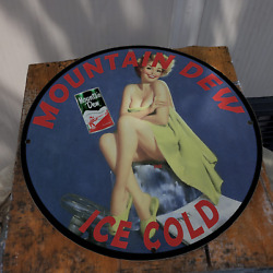Vintage 1960 Mountain Dew Ice Cold Soft Drink Porcelain Gas And Oil Pump Sign