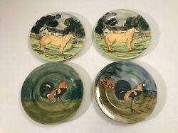 Lot 4 Colonial Williamsburg Iden Hand Painted 8 Salad Plates Horse Chicken