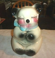 Rare Old Vintage American Bisque Sitting Bear Cookie Jar 1950/60s 10 1/4 Tall
