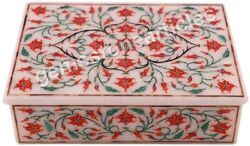 6and039x4x2 Marble Jewelry Box For Accessories Carnelian Stone Fine Floral Interior