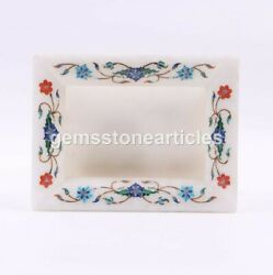 Marble White Handmade Collectible Photo Storage Frame Lapis Inlaid Floral Arts