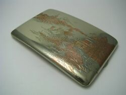 Mixed Metals Copper Inlaid Sterling Silver Cigarette Case Box Asia Japan Ca1950s