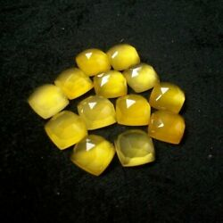 Yellow Chalcedony Square Rose Cut Loose Gemstone One Side Rose Cut 21mm To 25mm