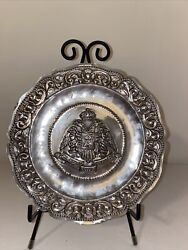 Rare Double Eagle Tray Plate 19th Cent.900 Silver By Welsch And Co.